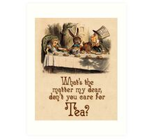 Alice in Wonderland Quote - Don't You Care for Tea? - Mad Hatter Quote - 0234 Art Print
