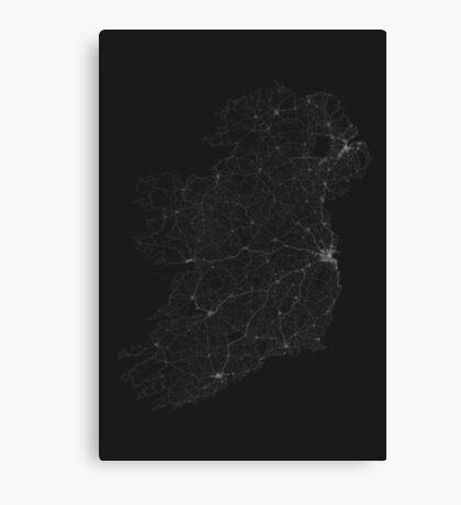 Roads of Ireland. (White on black) Canvas Print