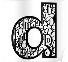 Small Letter D, white background Poster