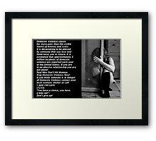 """Stop Abuse Against Women! """"Real Men Don't Hit Women"""" Framed Print"""