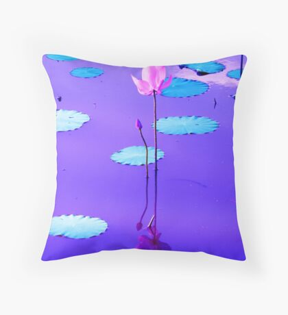 Sunset Colors Reflected On The Lily Pond Throw Pillow