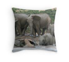 Lean on me - Elephants taking a bath Throw Pillow