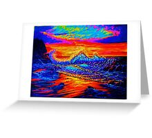 Glass Wave Sunset Greeting Card