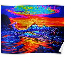 Glass Wave Sunset Poster