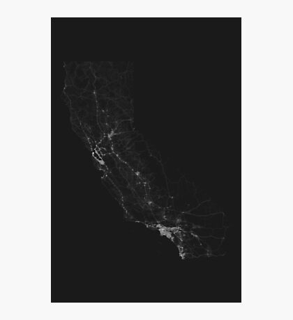Roads of California. (White on black) Photographic Print