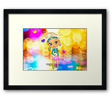 Cute girl with big eyes Framed Print