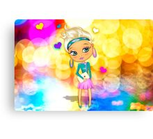 Cute girl with big eyes Canvas Print