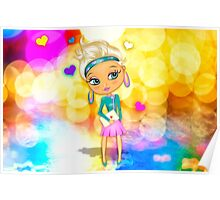 Cute girl with big eyes Poster