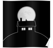Cat Looking at the Moon Poster