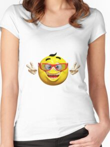 Happy Emoticon Women's Fitted Scoop T-Shirt