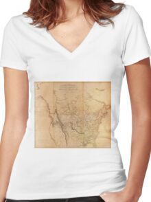 Map of the Explored Parts of North America (1814) Women's Fitted V-Neck T-Shirt