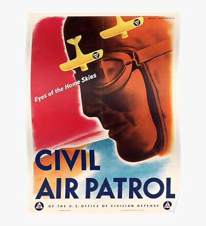 Civil Air Patrol ~ Vintage World War 2 WWII Poster ~ Air Force Pilot ~ 0536 Poster