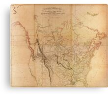 Map of the Explored Parts of North America (1814) Canvas Print