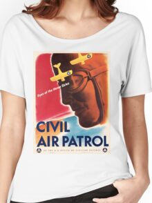 Civil Air Patrol ~ Vintage World War 2 WWII Poster ~ Air Force Pilot ~ 0536 Women's Relaxed Fit T-Shirt