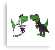 Funny Green T-Rex Dinosaur Bride and Groom Canvas Print