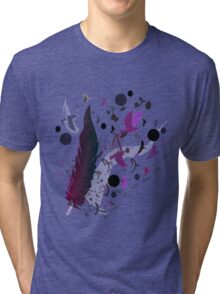 Purple feather and Flying Birds Tri-blend T-Shirt