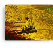 A Steam Tugboat in yellow Canvas Print