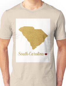 Gold South Carolina map Unisex T-Shirt