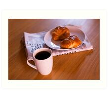 coffee and croissants Art Print