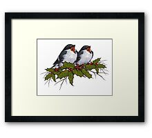 Christmas Holly with Singing Birds, Hand Drawn Art Framed Print