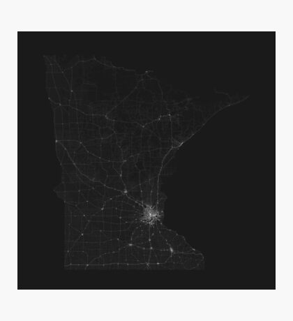 Roads of Minnesota. (White on black) Photographic Print