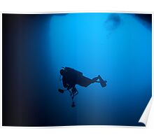Photographer in Lost Blue Hole, Nassau, Bahamas Poster