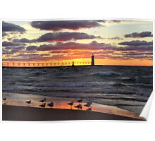 Sunset Manistee Michigan Style Poster