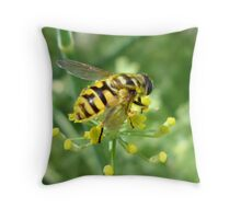 Bee on Fennel Throw Pillow