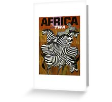 Africa Fly TWA Travel Poster ~ Vintage Airline Zeebras ~ 0560 Greeting Card