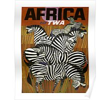 Africa Fly TWA Travel Poster ~ Vintage Airline Zeebras ~ 0560 Poster