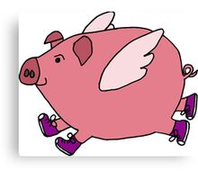 Hilarious Flying Pig with Purple Sneakers Canvas Print