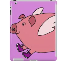 Hilarious Flying Pig with Purple Sneakers iPad Case/Skin