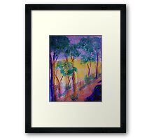 Eucolptus trees on slope, watercolor Framed Print