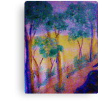 Eucolptus trees on slope, watercolor Canvas Print