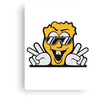 handzeichen fun cool face sunglasses victory peace Canvas Print