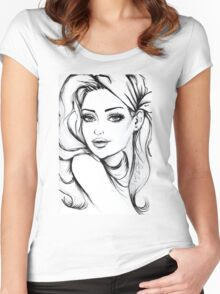 Fashion Hippi Girl Drawing  Women's Fitted Scoop T-Shirt