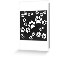 BLACK PAW PATTERN MONOCHROME CATS DOGS Greeting Card