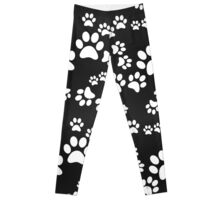 BLACK PAW PATTERN MONOCHROME CATS DOGS Leggings