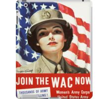 Army Nurse Recruiting Vintage Poster ~ Join the WAC Now! ~ World War 2 WWII ~ 0580 iPad Case/Skin