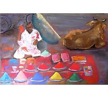 colorful powders for Holi, India Photographic Print