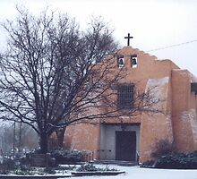Adobe Church in Light Snow, Santa Fe, New Mexico by lenspiro