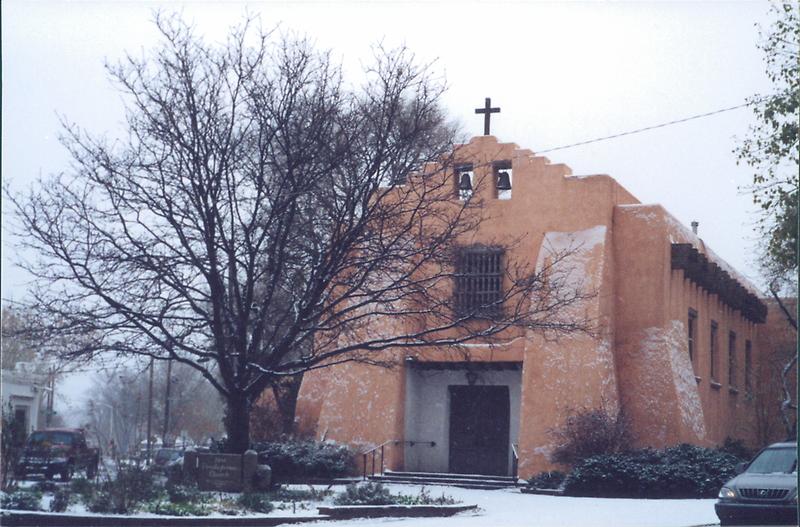 Adobe Church in Light Snow, Santa Fe, New Mexico by lenspiro