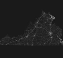 Roads of Virginia. (White on black) by Graphical-Maps