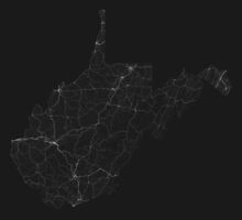 Roads of West Virginia. (White on black) by Graphical-Maps