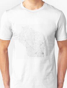 Roads of Wisconsin. (Black on white) Unisex T-Shirt