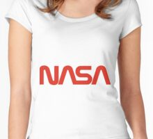NASA Red Worm Logo Women's Fitted Scoop T-Shirt