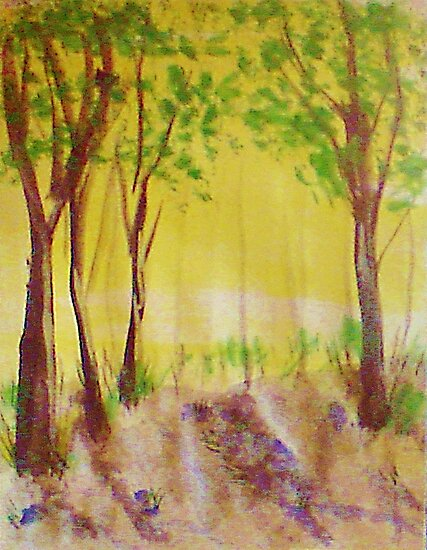 Grove of trees, watercolor by Anna  Lewis, blind artist