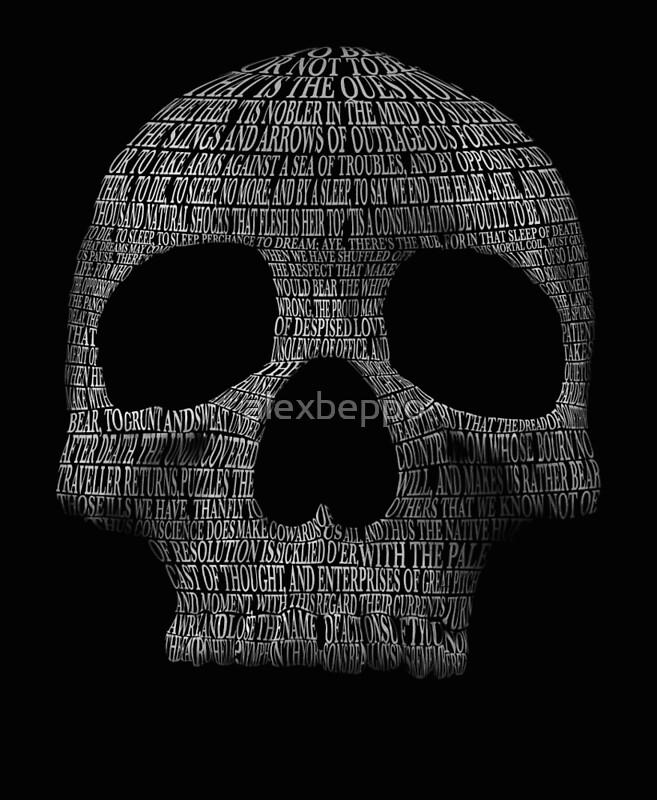 """""""Hamlet """"to be or not to be"""" typography skull"""" Posters by ..."""