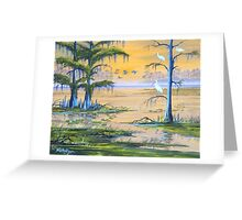 Ibis At The Everglades - Misty Sunrise Greeting Card