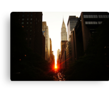Manhattanhenge Sunset Looking Down 42nd Street Canvas Print